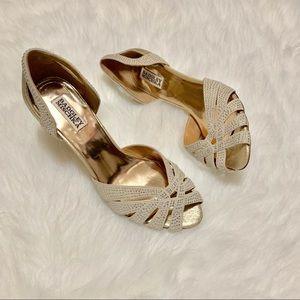 Badgley Mischka Shoes - Crystal Embellished Badgley Mischka Peep Toe Shoes